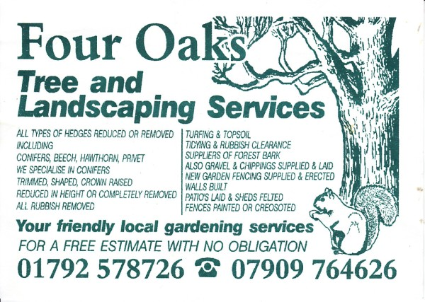 Swanbiz business card member for Tree and garden services